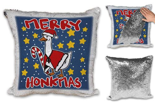 Merry Honkmas Funny Christmas Goose Novelty Sequin Reveal Magic Cushion Cover